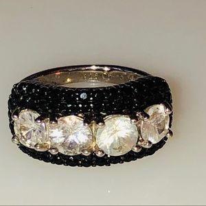 Vintage Sterling Silver Cubic Zirconia Paved Ring